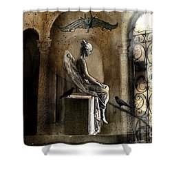 Gothic Surreal Angel With Gargoyles And Ravens  Shower Curtain