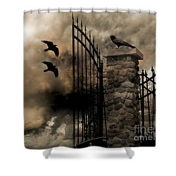 Gothic Surreal Fantasy Ravens Gated Fence  Shower Curtain by Kathy Fornal