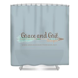 Grace And Grit Logo Shower Curtain by Elizabeth Taylor