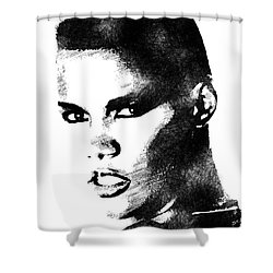 Grace Jones Bw Portrait Shower Curtain