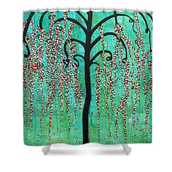 Shower Curtain featuring the mixed media Graceful Willow Print by Natalie Briney