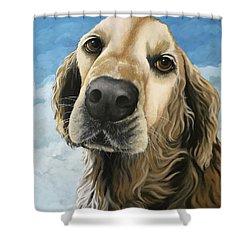 Gracie - Golden Retriever Dog Portrait Shower Curtain