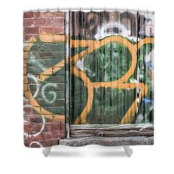 Shower Curtain featuring the photograph Graffiti Covered Wall Of An Old Abandoned Factory by Edward Fielding