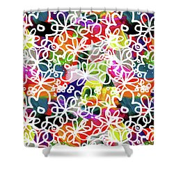 Shower Curtain featuring the mixed media Graffiti Garden 2- Art By Linda Woods by Linda Woods