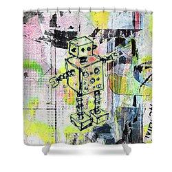 Graffiti Graphic Robot Shower Curtain