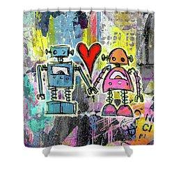 Graffiti Pop Robot Love Shower Curtain