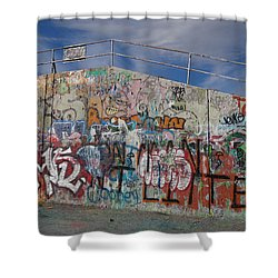 Graffiti Wall Shower Curtain by Julia Wilcox
