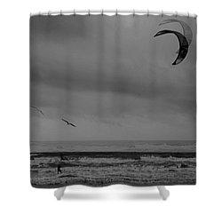 Grainy Wind Surf Shower Curtain