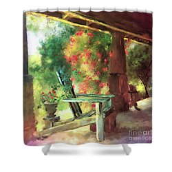 Shower Curtain featuring the digital art Gramma's Front Porch by Lois Bryan