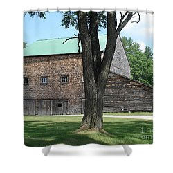 Grammie's Barn Through The Trees Shower Curtain by Kerri Mortenson