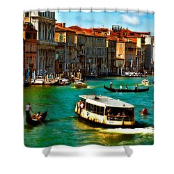 Grand Canal Daytime Shower Curtain by Harry Spitz