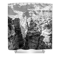 Shower Curtain featuring the photograph Grand Canyon Bw Impression by Juergen Klust