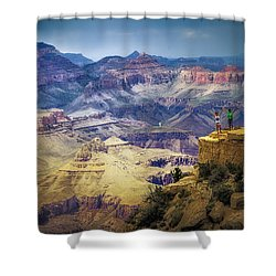 Shower Curtain featuring the photograph Grand Canyon Hello by James Bethanis
