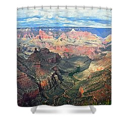 Shower Curtain featuring the digital art Grand Canyon by Kai Saarto