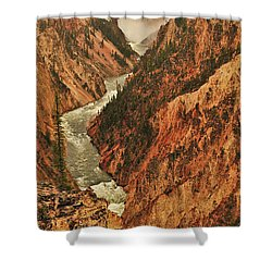 Shower Curtain featuring the photograph Grand Canyon Of The Yellowstone Vertical Panorama by Greg Norrell