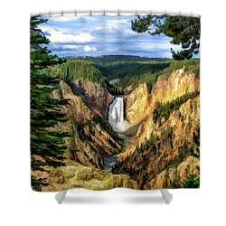 Shower Curtain featuring the painting Grand Canyon Of The Yellowstone Waterfall by Christopher Arndt