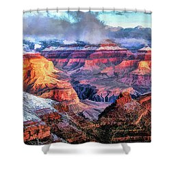 Shower Curtain featuring the painting Grand Canyon Snow by Christopher Arndt