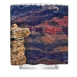 Shower Curtain featuring the photograph Grand Canyon Stacked Rock by Roberta Byram