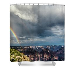 Grand Canyon Stormy Double Rainbow Shower Curtain