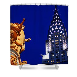 Grand Central Station And Chrysler Building Shower Curtain by James Kirkikis