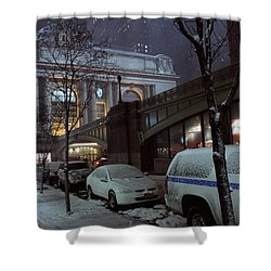 Grand Central Station Manhattan Ny View From E43rd St And Park Avenue At Late Night Snow Storm Shower Curtain