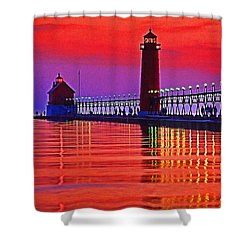 Grand Haven Lighthouse Shower Curtain by Dennis Cox