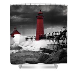 Grand Haven Lighthouse In A Rain Storm Shower Curtain