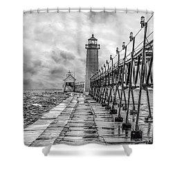 Grand Haven Lighthouse - Monochome Shower Curtain