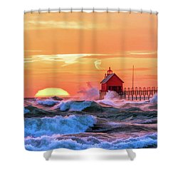Shower Curtain featuring the painting Grand Haven Lighthouses by Christopher Arndt