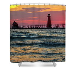 Grand Haven Pier Sail Shower Curtain by Pat Cook