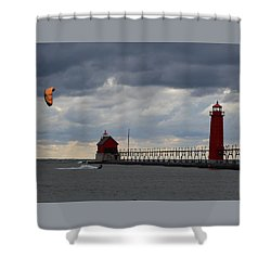 Grand Haven Wind Surfing Shower Curtain