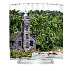 Grand Island East Channel Lighthouse #6680 Shower Curtain