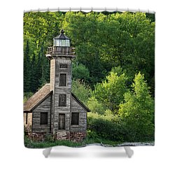 Grand Island Light House In Spring Shower Curtain