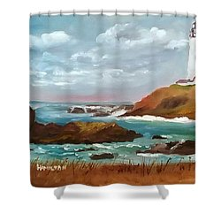 Grand Lighthouse Shower Curtain by Larry Hamilton