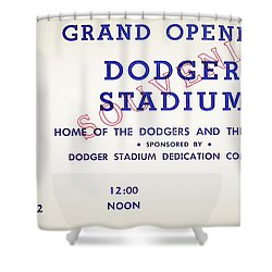 Grand Opening Dodger Stadium Ticket Stub 1962 Shower Curtain by Bill Cannon