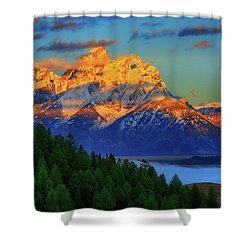 Grand Teton Alpenglow Shower Curtain