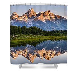 Shower Curtain featuring the photograph Grand Teton Awakening by Dan Mihai