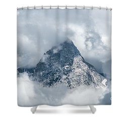 Grand Teton In Clouds Shower Curtain