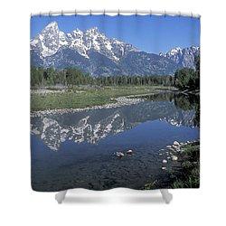 Grand Teton Reflection At Schwabacher Landing Shower Curtain by Sandra Bronstein