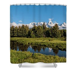 Grand Teton Reflection Shower Curtain by Brian Harig