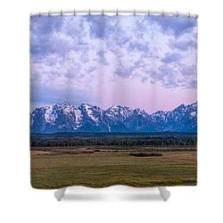Grand Tetons Before Sunrise Panorama - Grand Teton National Park Wyoming Shower Curtain