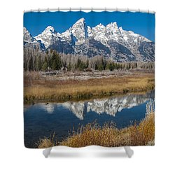 Shower Curtain featuring the photograph Grand Tetons by Gary Lengyel