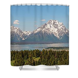 Grand Tetons Over Jackson Lake Panorama Shower Curtain by Brian Harig