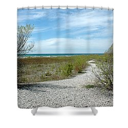Shower Curtain featuring the photograph Grand Traverse Bay Path by LeeAnn McLaneGoetz McLaneGoetzStudioLLCcom