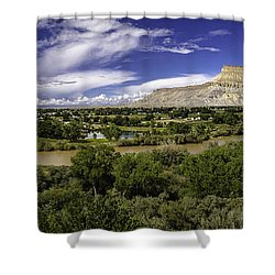 Grand Valley Panoramic Shower Curtain by Teri Virbickis