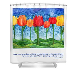 Shower Curtain featuring the painting Grandest Visions by Kristen Fox