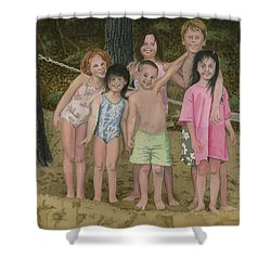 Shower Curtain featuring the painting Grandkids On The Beach by Ferrel Cordle