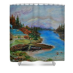 Shower Curtain featuring the painting Grandmas Cabin by Leslie Allen