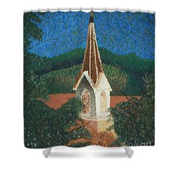 Shower Curtain featuring the painting Grandmas Church by Jacqueline Athmann
