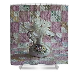 Grandmother's Vase And Her Son's Quilt Shower Curtain